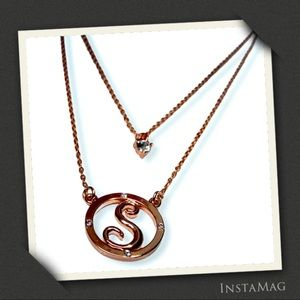 'S' INITIAL Rose Gold Tone Double Strand Necklace